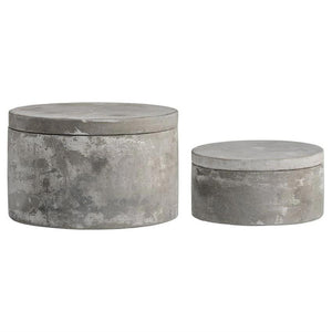 Set of 2 cement lidded boxes new for spring decor
