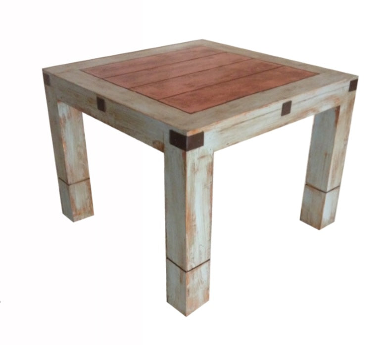 Oviedo Dining Table Distress Gray & Old Red