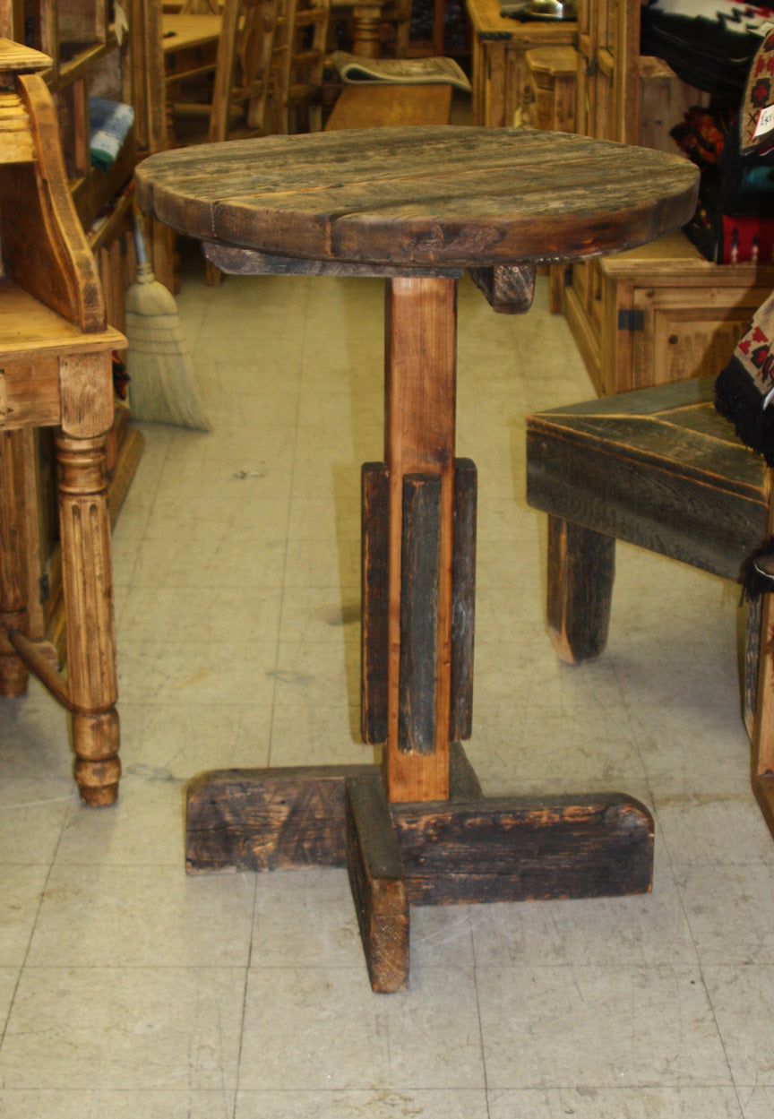 Small Round Barnwood Bistro Table