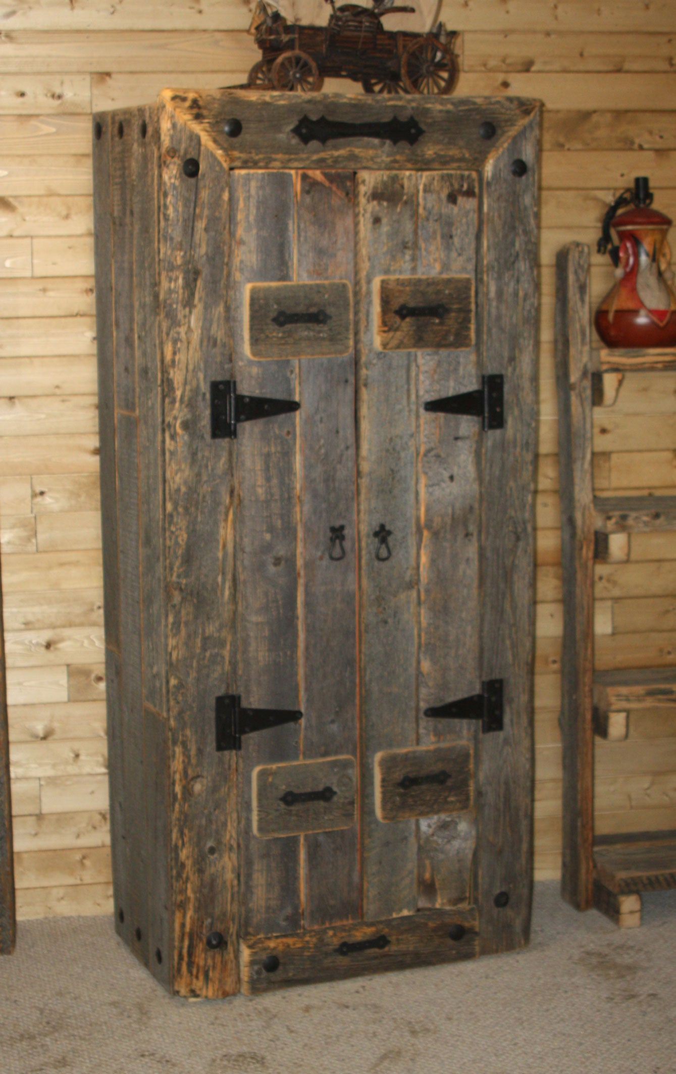 Barnwood Bookcase with Doors