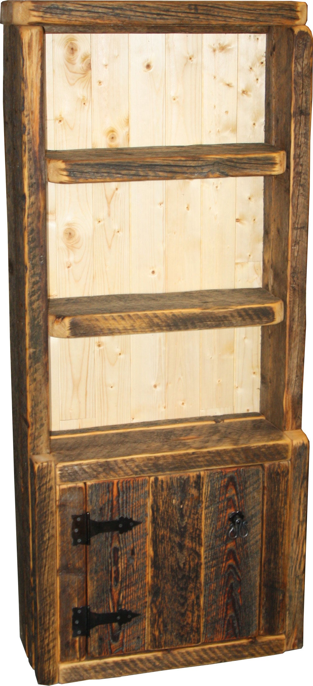Barnwood Open Bookcase with Doors