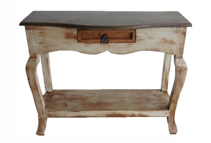 "Ale Chica Console Table 39"" Multicolor Walnut-Gray-Ocre with Laquer"