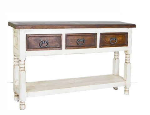 "Consola Bill Console Table 43"" Two Tone Walnut-White with Laquer"