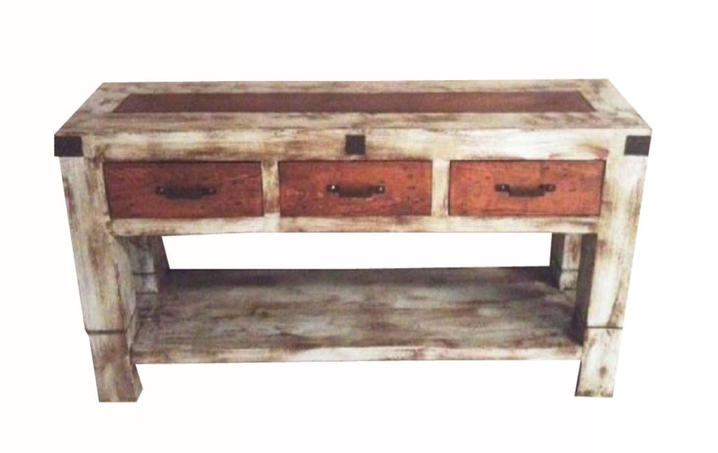 Oviedo Console Table Gray Medium Walnut Distress