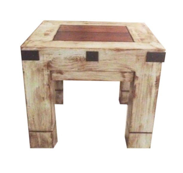 Oviedo Side Table Gray Medium Walnut Distress