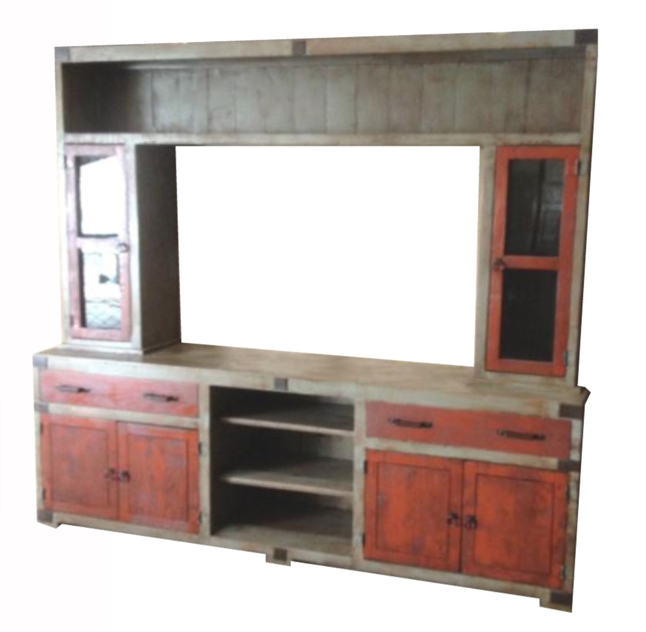 Oviedo Entertainment Center Distress Gray & Old Red