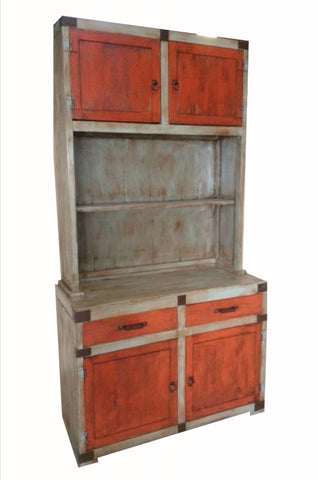 Oviedo Hutch Distress Gray & Old Red