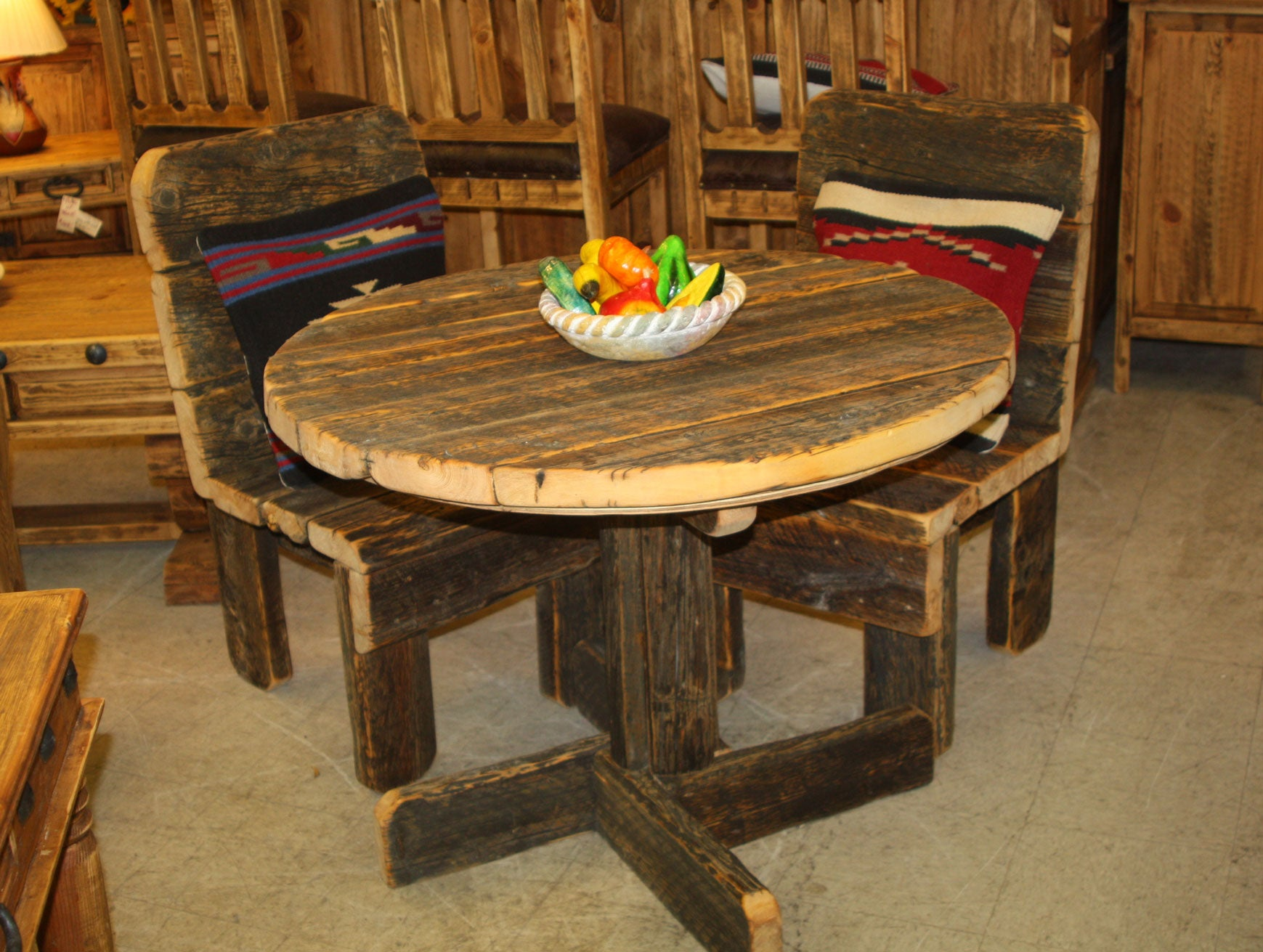 "39"" Round Barnwood Table"