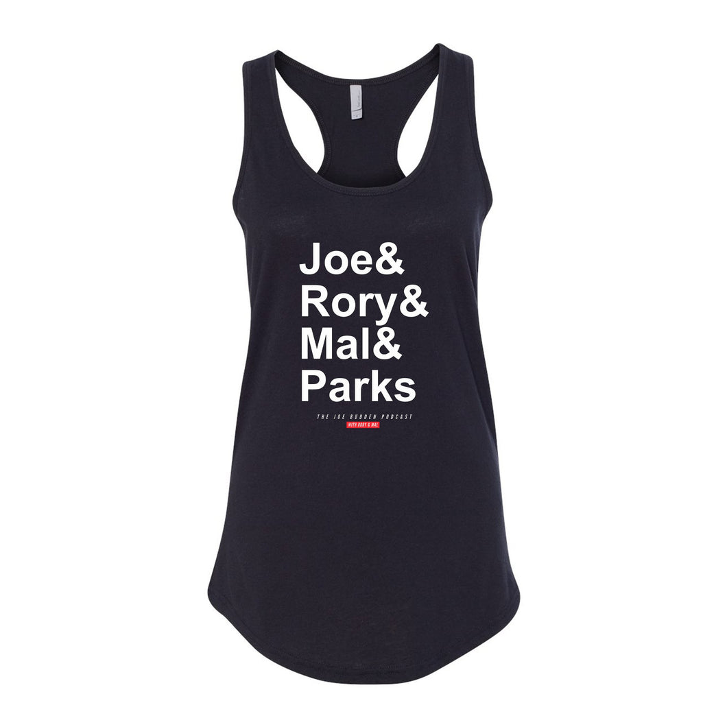 Joe & Rory & Mal & Parks Women's Racer Back Tank - Black