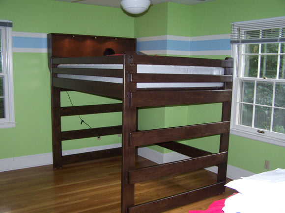 Full Loft Bed with Lighted Bookshelf