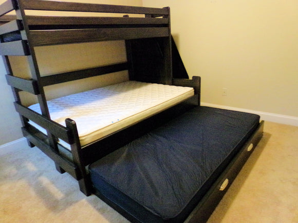 Twin Over Queen Bunk Bed With Twin Trundle or Storage Drawers (Long)