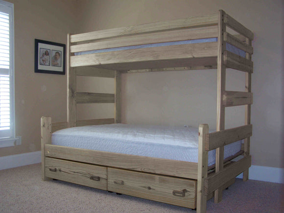 Twin Over Full Bunk Bed With Storage Drawers or Trundle