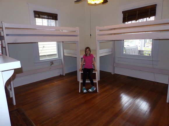 Twin Loft Beds Corner Unit With Platform and Steps