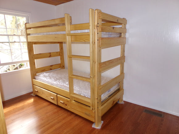 Twin Over Twin Bunk Bed With Ladder and Storage Drawers or Trundle