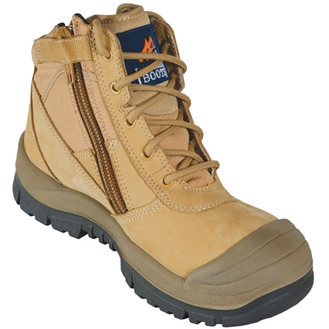 Wheat Zip Side Safety Boot With Scuff Cap 461050