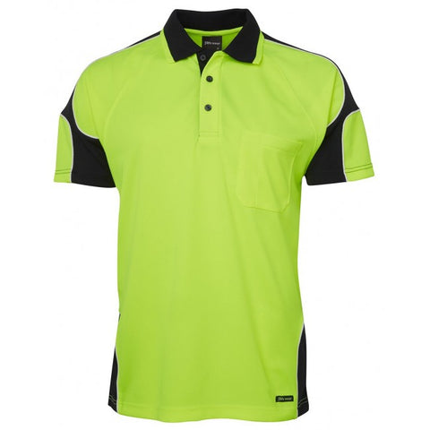JBs Hi Vis 4602.1 S/S Arm Panel Polo Lime/Navy 2XL