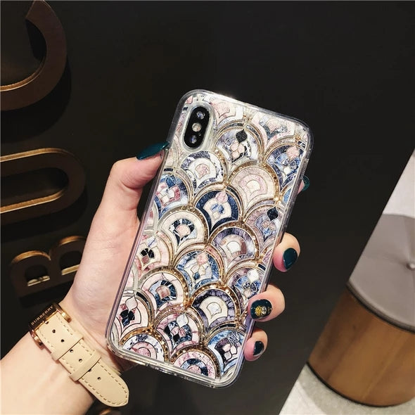 luxury fashion fish-scale quicksand phone case