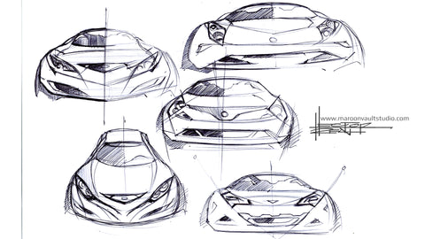 Car Design Front End Sketch Trick