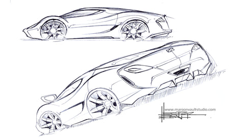 Sketching Mid Engined Cars