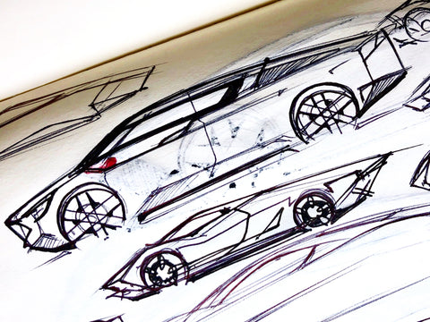 Sports Car Ideation | Ink & Marker