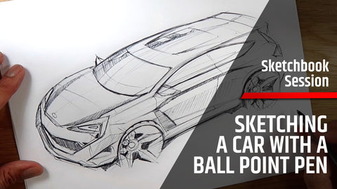 Sketching A Car With A Ballpoint Pen