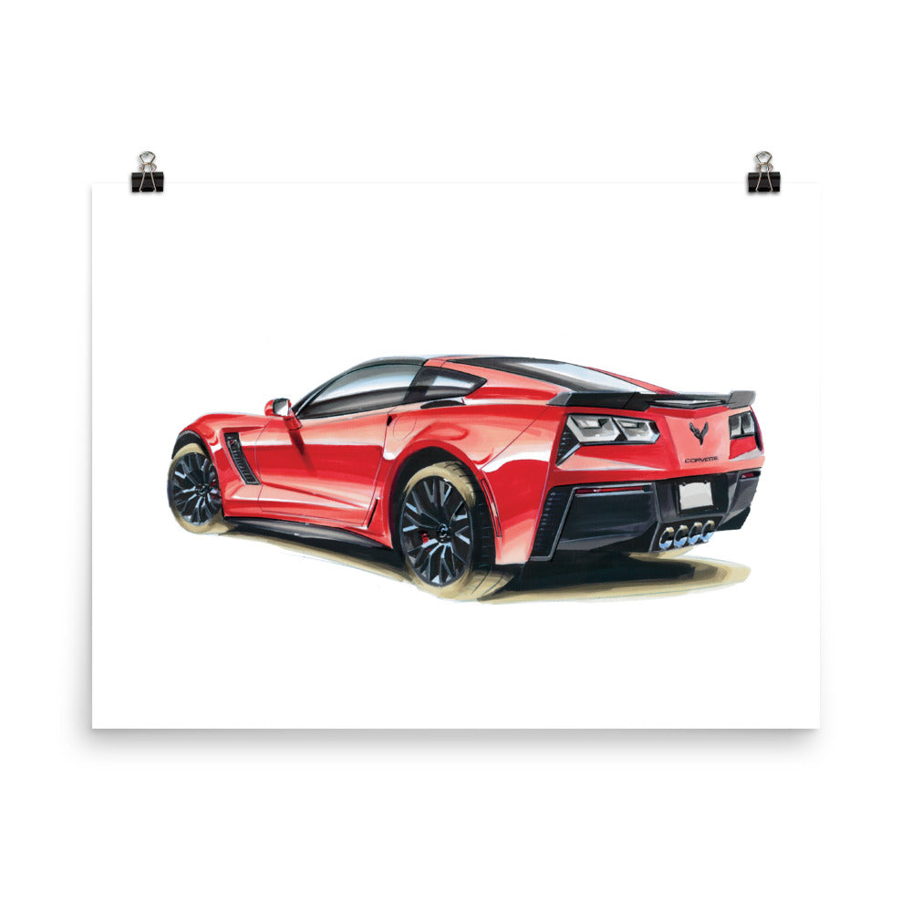 Red C7 | Poster - Reproduction of Original Artwork by Our Designers - MAROON VAULT STUDIO