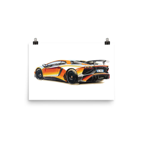 Aventador | Poster - Reproduction of Original Artwork by Our Designers - MAROON VAULT STUDIO