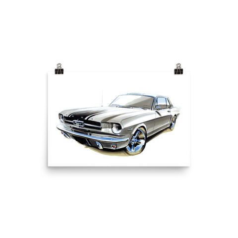 Mustang Poster [Silver] | Reproduction of Hand Made Artwork by our Design Team - MAROON VAULT STUDIO