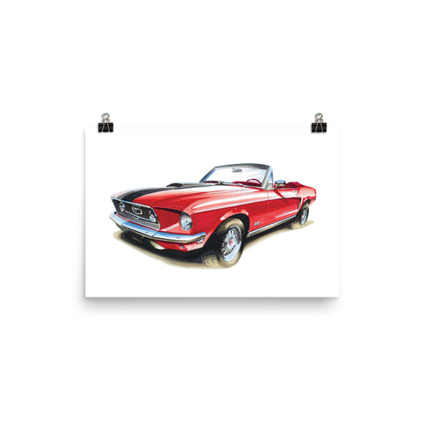 Mustang Convertible [Red] Poster | Reproduction of Handmade Artwork by our Design Team - MAROON VAULT STUDIO