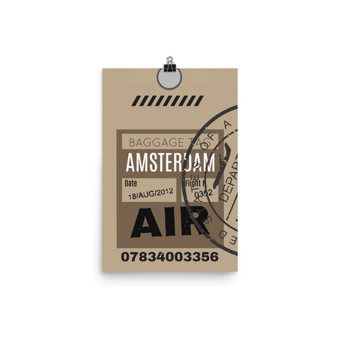 Amsterdam Luggage Tag | Poster - Photo Quality Paper - MAROON VAULT STUDIO