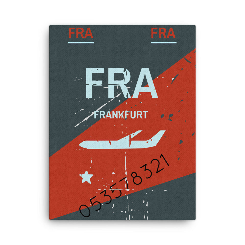 Frankfurt Luggage Tag | Canvas Print - MAROON VAULT STUDIO