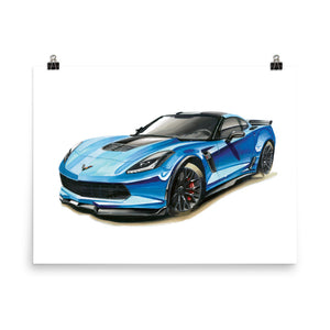 Blue C7 | Poster - Reproduction of Original Artwork by Our Designers - MAROON VAULT STUDIO