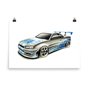 GTR R34 | Poster - Reproduction of Original Artwork by Our Designers - MAROON VAULT STUDIO