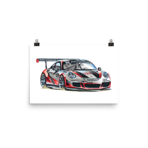 911 Cup Car Poster [Red/White] | Reproduction of Original Artwork by Our Design Team - MAROON VAULT STUDIO