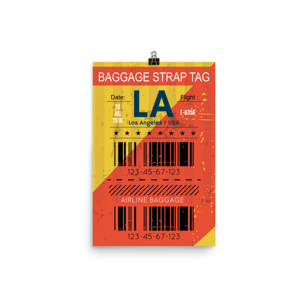 Los Angeles Luggage Tag | Poster - Photo Quality Paper - MAROON VAULT STUDIO