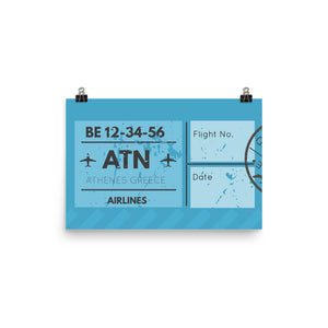 Athens Luggage Tag | Poster - Photo Quality Paper - MAROON VAULT STUDIO