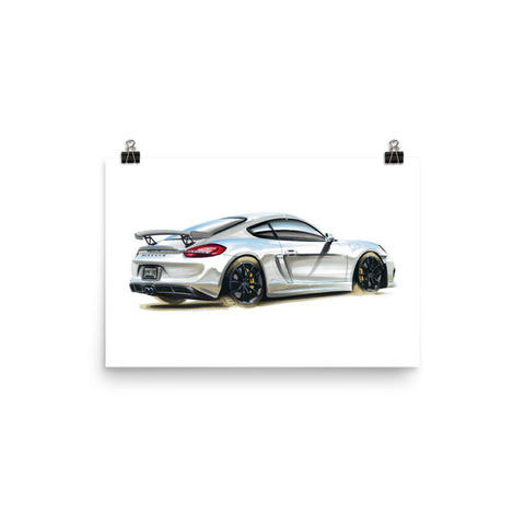 Cayman GT4 Poster [White] | Reproduction of Original Artwork by Our Design Team - MAROON VAULT STUDIO