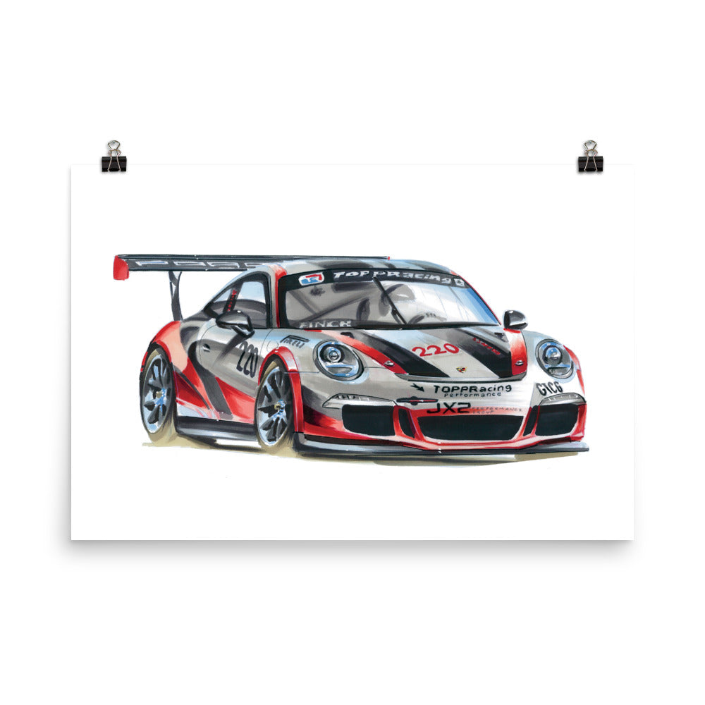 911 Cup Car | Poster - Reproduction of Original Artwork by Our Designers - MAROON VAULT STUDIO