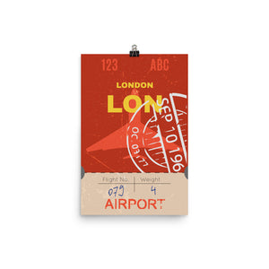 London Luggage Tag | Poster - Photo Quality Paper - MAROON VAULT STUDIO