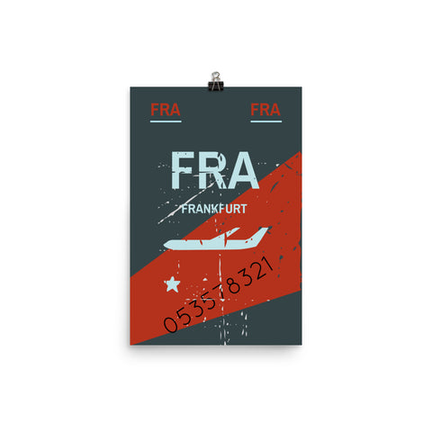 Frankfurt Luggage Tag | Poster - Photo Quality Paper - MAROON VAULT STUDIO