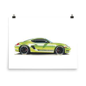 Boxster Poster [Green] | Reproduction of Original Artwork by Our Design Team - MAROON VAULT STUDIO