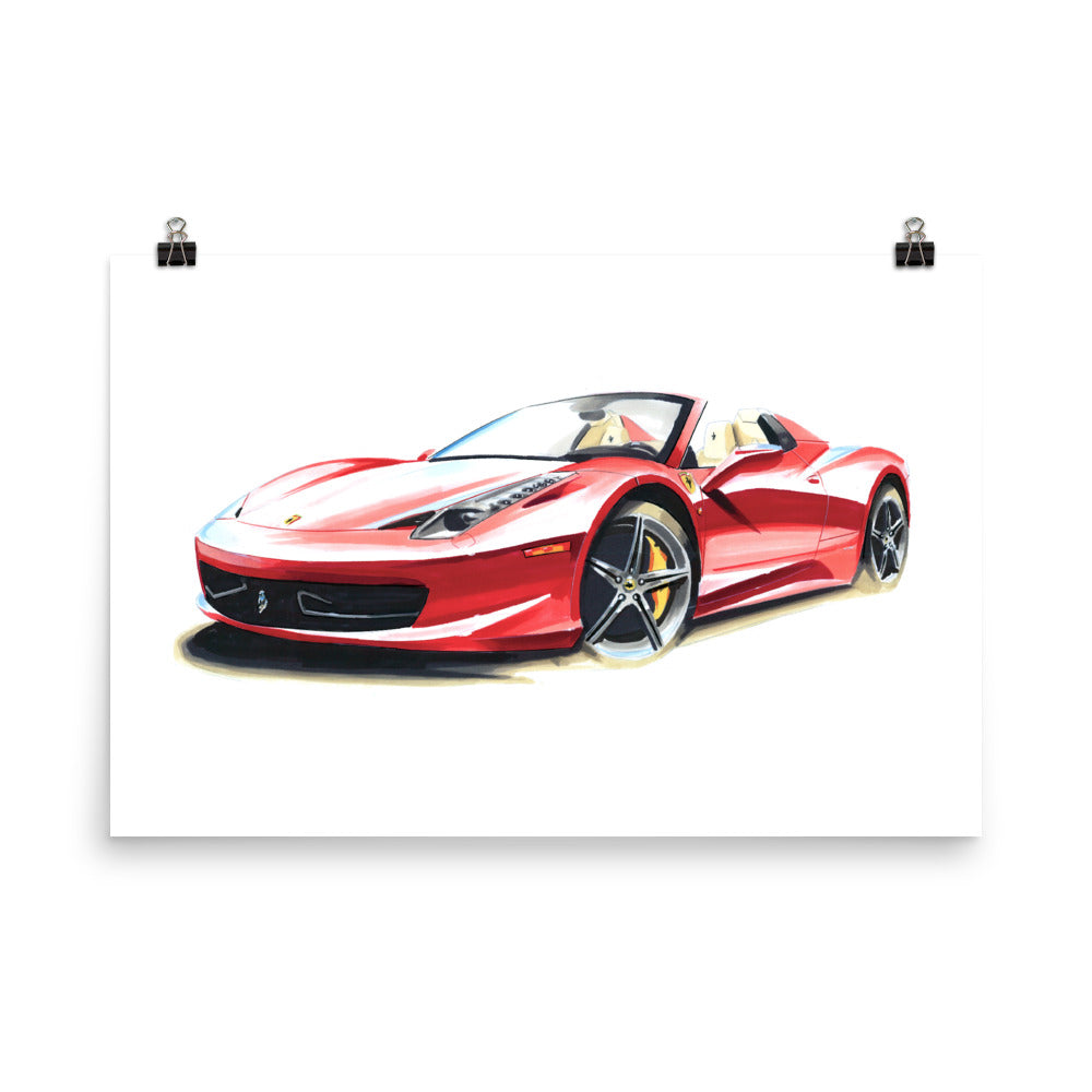458 [Red] Poster | Reproduction of Original Artwork by Our Design Team - MAROON VAULT STUDIO