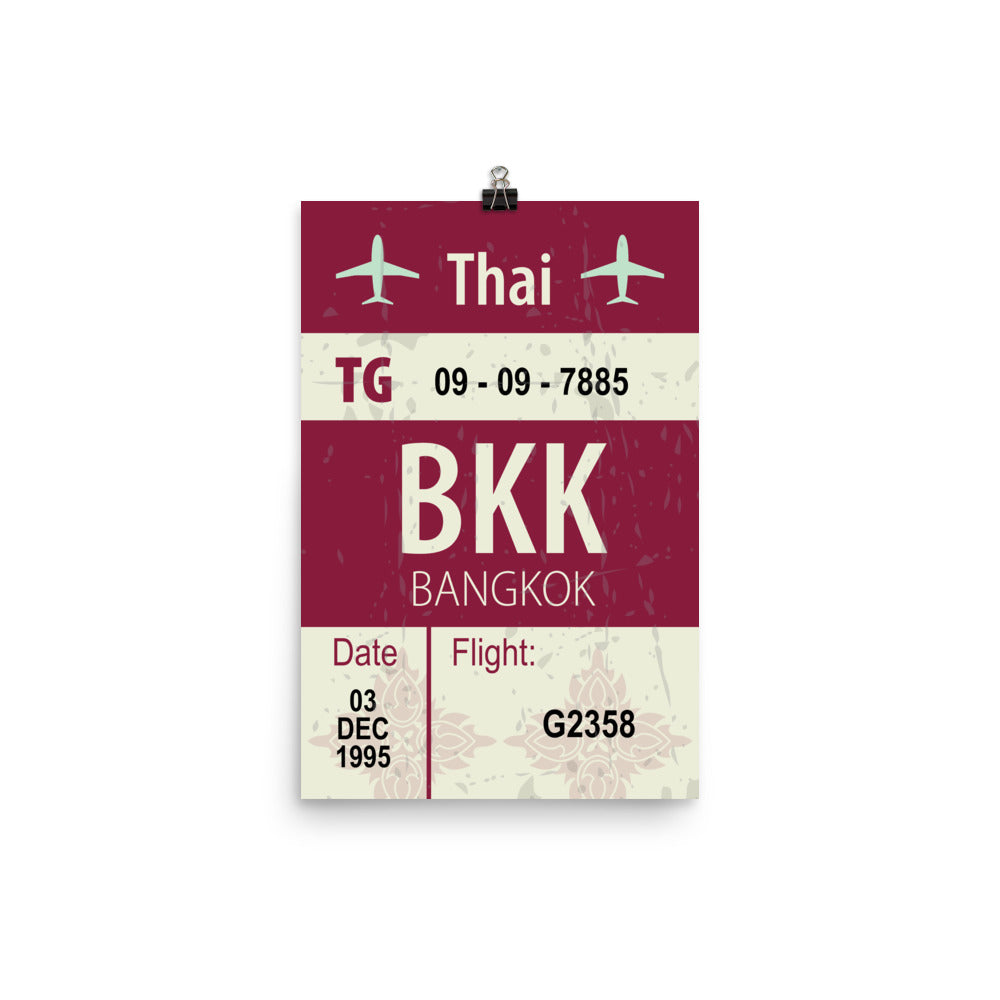 Bangkok Luggage Tag | Poster - Photo Paper - MAROON VAULT STUDIO