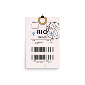 Rio De Janeiro Luggage Tag | Poster - Photo Quality Paper - MAROON VAULT STUDIO
