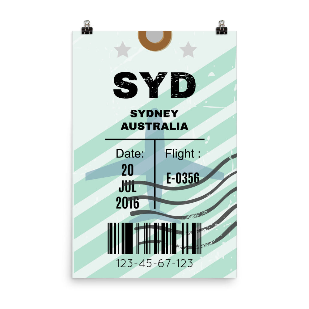 Sydney Luggage Tag | Poster - Photo Quality Paper - MAROON VAULT STUDIO