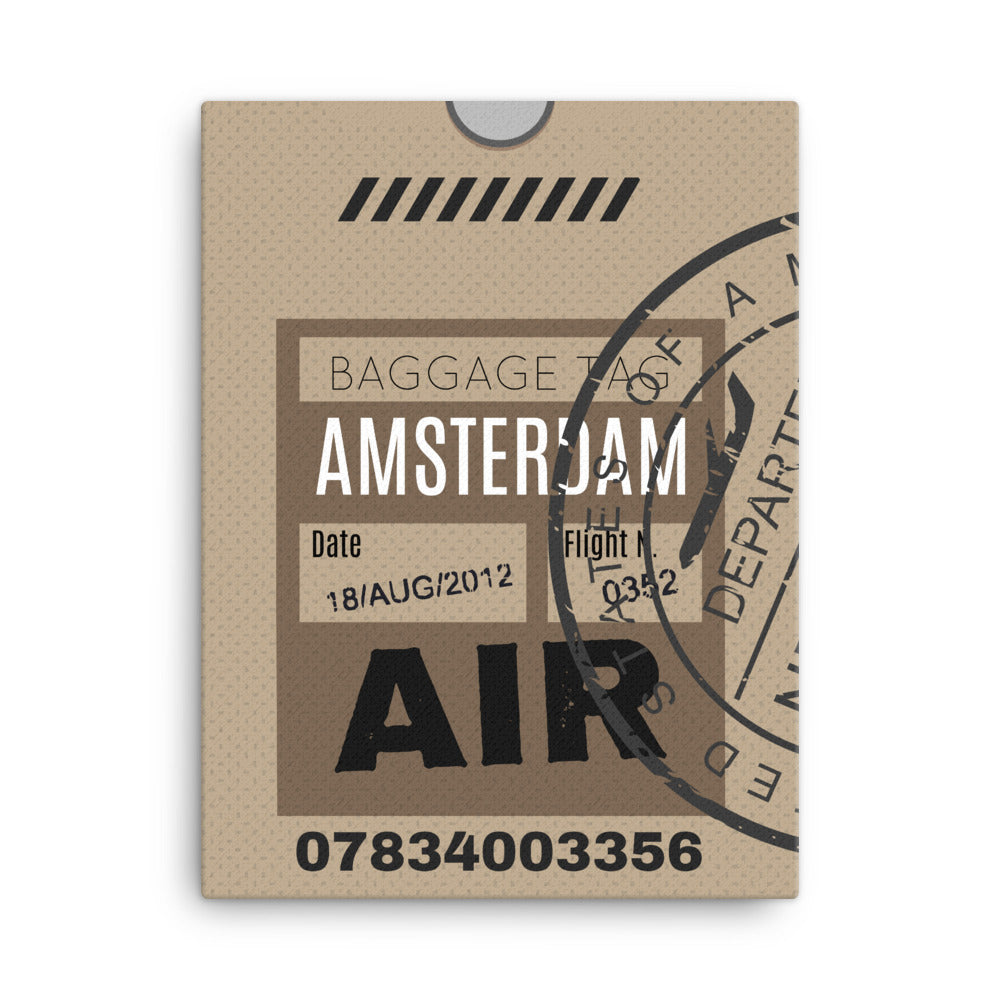 Amsterdam Luggage Tag | Canvas Print - MAROON VAULT STUDIO
