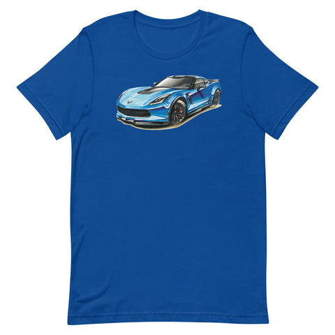 Blue C7 | Short-Sleeve Unisex T-Shirt - Original Artwork by Our Designers - MAROON VAULT STUDIO