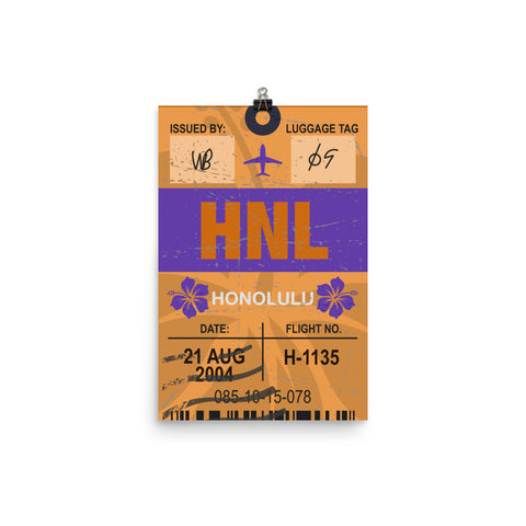 Honolulu Luggage Tag | Poster - Photo Quality Paper - MAROON VAULT STUDIO