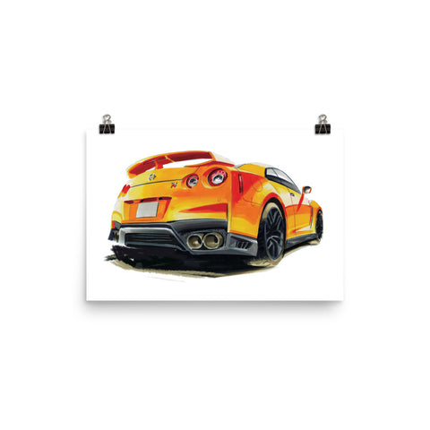 GTR R35 Poster [Yellow] | Reproduction of Hand Made Artwork by our Design Team - MAROON VAULT STUDIO