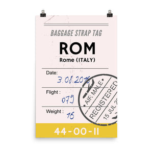 Rome Luggage Tag | Poster - Photo Quality Paper - MAROON VAULT STUDIO